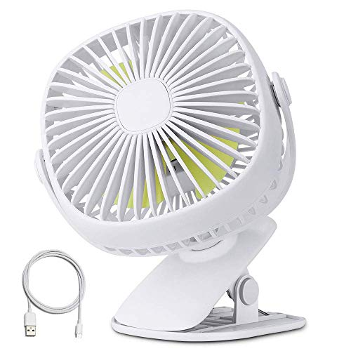 Orange Tech USB Clip Desk Personal Fan with Night Light, Table Fans,Clip on Fan,2 in 1 Applications, 5.7 inch 3 Speed Portable Cooling Fan USB Powered for Baby Stroller, Travel (Renewed)