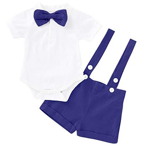 MYRISAM Baby Boys Gentleman Wedding Tuxedo Outfits 1st/2nd Birthday Cake Smash Bowtie Romper Suspenders Bib Pants Overalls Royal Blue - Bib Blue Infant Royal