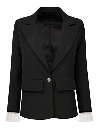 Lookbook Store Women's Black Business Casual Tulle Sleeve One Button Pockets Notched Lapel Jacket Blazer Suit Size XXL