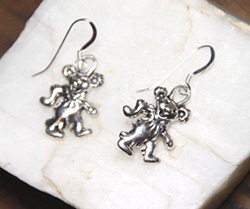 1 Pair Garcia Bear Earrings Grateful Dead Teddy Bear Pewter 925 Sterling Silver