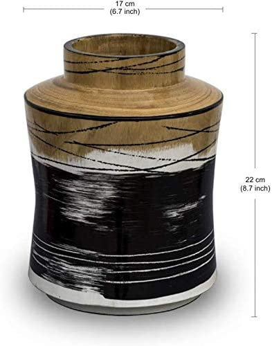 H HOMEPAINT Handcrafted Wooden Vase with White Black Natural Wood Color Decorative Flower Vase for Home Office Living Room 6.7 x 8.7 Inch