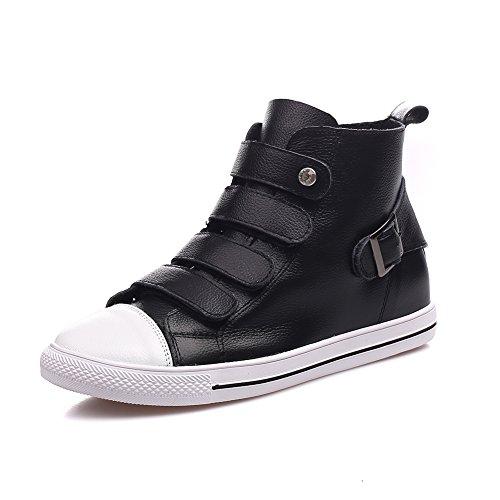 Shenn Damen Knöchelhoch Buckle Classics Leder Fashion Sneakers Schwarz