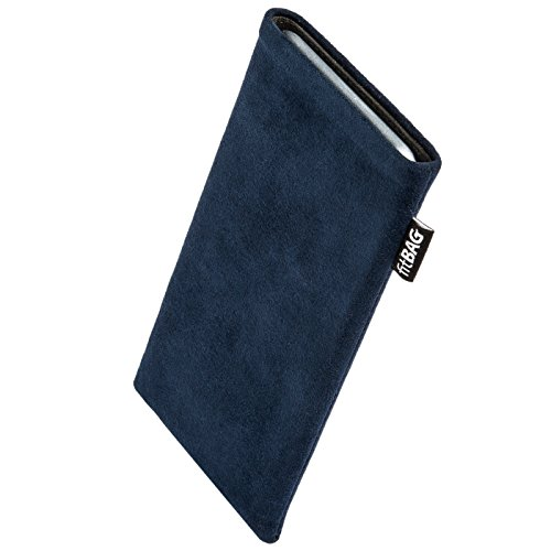 fitBAG Classic Blue custom tailored sleeve for Nokia 6103. Genuine Alcantara pouch with integrated MicroFibre lining for display cleaning