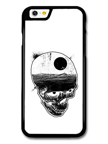 Skull with Night Sky and Bats over Ocean Illustration in Black and White case for iPhone 6 6S
