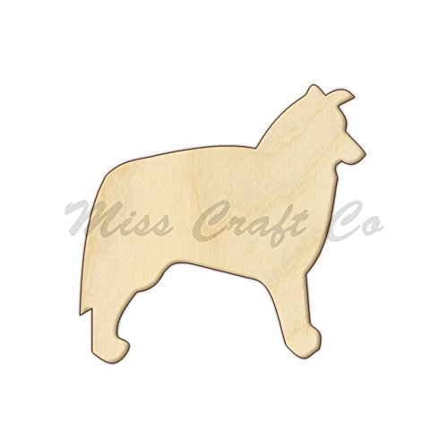 Border Collie Wood Shape Cutout, Wood Craft Shape, Unfinished Wood, DIY Project. All Sizes Available, Small to Big. Made in the USA. 6 X 5.8 INCHES