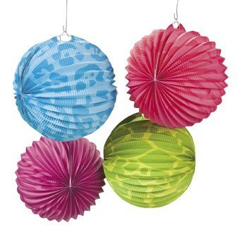 Dozen Neon Animal Print Party Lanterns - Party Decorations & Party Lanterns -