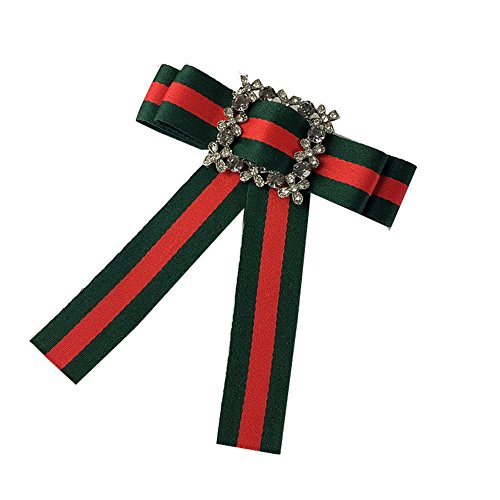 Rhinestore Crystal Dangle Wedding Party Bow Tie Women/Men Ribbon Pre Tied Neck Tie Adustable Brooch Pin Clip (Green 2)