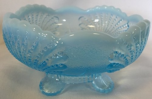 (Large Bowl - Shell - Blue Opalescent Glass - Mosser)