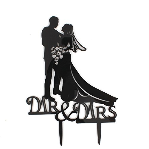 B&Y Wedding Cake Inserted Card Mr & Mrs Bride & Groom Wedding & Anniversary Cake Decorations (Type1) ()