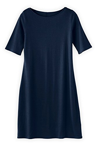 (Fair Indigo Fair Trade Organic Boat Neck Dress (S, Midnight Navy))