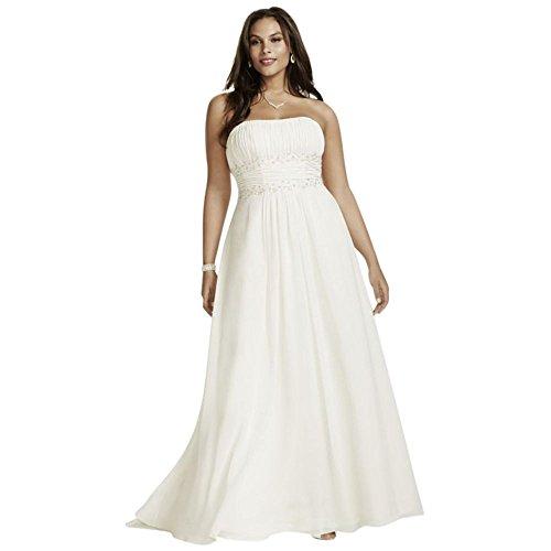 David's Bridal Chiffon Empire Waist Plus Size Wedding Dress Style 9V9743, Ivory, ()