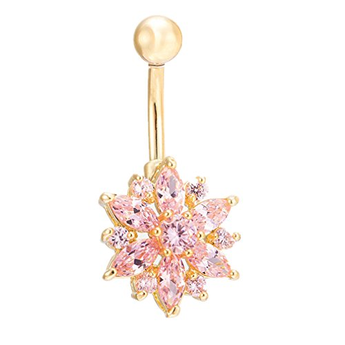 Calors Vitton Gold Plated Cubic Zirconia Sun Flower Body Piercing Jewelry Belly Rings Gold Pink 3