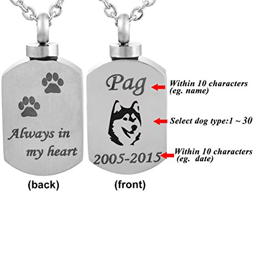 Valyria Polished Blank Stamp Charm Urn Pendant Necklace Memorial Ash Keepsake with Personalized ()