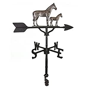 Montague Metal Products 32-Inch Weathervane with Swedish Iron Mare and Colt Ornament