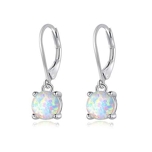 CiNily Round-Cut Opal Dangle Earrings,White Fire Opal Rhodium Plated Women Jewelry leverback Gemstone Drop Earrings