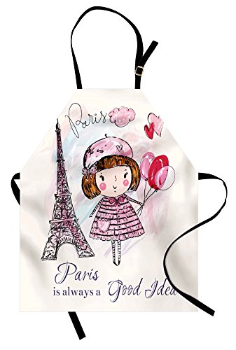 Ambesonne Paris Apron, Little Girl Holding Balloons Hearts a Cloud and Eiffel Tower Illustration, Unisex Kitchen Bib Apron with Adjustable Neck for Cooking Baking Gardening, Pale Pink Purple White (Eiffel Paris Tower Little)