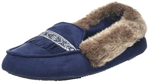Isotoner Pillowstep Moccasin with Fur Cuff and Tape Trim, Zapatillas de Estar por Casa para Mujer Azul - azul (Navy)