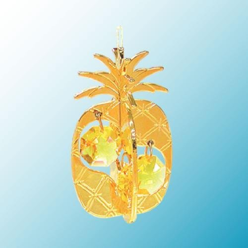 24K Gold Plated Hanging Sun Catcher or Ornament..... Pineapple With Two Yellow Color Swarovski Austrian Crystals -  Mascot International Inc, Berkeley, CA, GH-2658-GO
