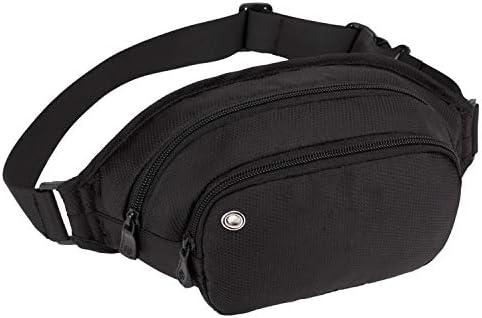 Hombres Mujeres Camping Nylon Fanny Pack Bolso negro de la cintura que va de excursión Hip Bum Purse, 29 * 13 * 6 negro de viaje Money Belt RFID Blocking Viajes Deportes