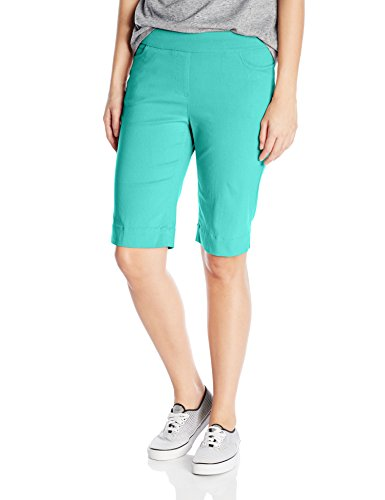 Green Walking Shorts - SLIM-SATION Women's Wide Band Pull-on Solid Walking Short, Green Aqua, 2