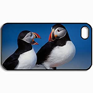Personalized Protective Hardshell Back Hardcover For iPhone 4/4S, Puffins Bird Design Design In Black Case Color