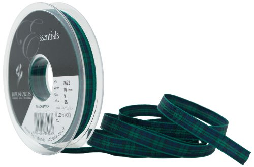 Berisfords Essentials R762210/9 | Black Watch Woven Tartan Ribbon | 25m x 10mm -