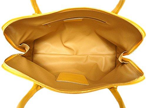 Florence Cuir 308 Pour Saffiano Sac En Leather Femme Jaune Business Cartable Market RwrAp6fqR