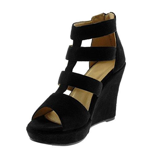 Peep Angkorly Mode Mule Spartiates Toe Noir Femme Plateforme Talon Compensé Chaussure 11 Bride Sandale Plateforme cm Multi qRIwRr