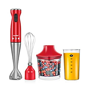 Comfee 2-Speeds Easy Use Electric Immersion Hand Blender with Chopper, Whisk, Beater for Soups, Smoothie, Baby Food ( Red)