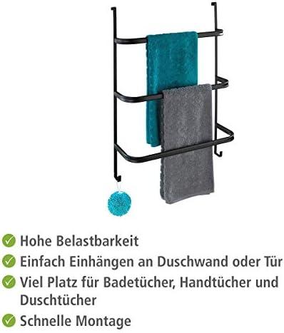 54,5 x 77,5 x 21,5 cm Stahl einfach Einh/ängen an Duschwand oder T/ür chrom WENKO Handtuchhalter Irpinia mit 3 Handtuchstangen