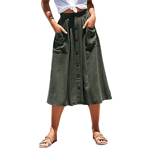 Exlura Women's High Waist Button Front A-line Skirt Pleated Midi Skirt with Pockets ArmyGreen