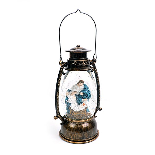 Scene Nativity Snowglobe (Evelyne GMT-10316 Jesus Christ Nativity Christmas Snow Globe, LED Lighted Lantern, Battery Operated Swirling Glitter Water for Holiday Season Home Decor)