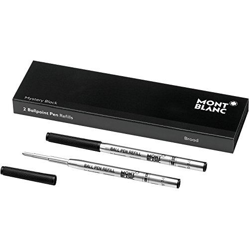 Montblanc Ballpoint Pen Refills (B) Mystery Black 116191 / Refill Cartridges with a Broad Tip for Montblanc Ball Pens / 2 x Black Ballpoint Refills