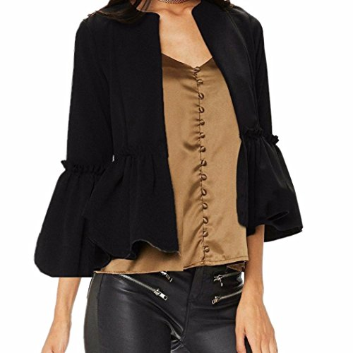 Price comparison product image NEW, AIMTOPPY Women Ruffle Frill Long Sleeve Open Front Coat Blazer Peplum Crop Jacket (XL,  Black)