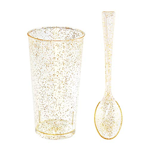 200 Pieces Mini PLastic Dessert Cups with Mini Spoons Gold Glitter, Includes 100 Pieces Disposable Round Shooter Glasses 3 Oz and 100 Pieces Gold Mini Spoons -
