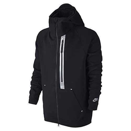Nike Tech Fleece Hero Full Zip Flash Mens Jacket 835566 Hoodie (Large, Black Reflective Silver 010) - Nike Leather Jacket