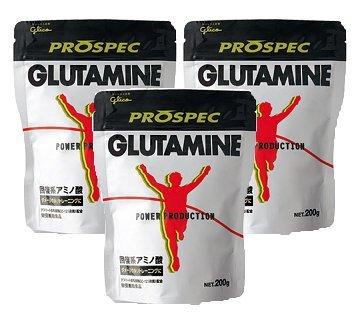 【3個セット】グリコ アミノ酸プロスペックグルタミンパウダー PROSUPEC GLUTAMINE 200g Glico B00N8EVQ44