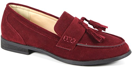 Vegan Fashion Oxee Burgundy Loafers Suede Bucco Leather Womens qO8vwRS