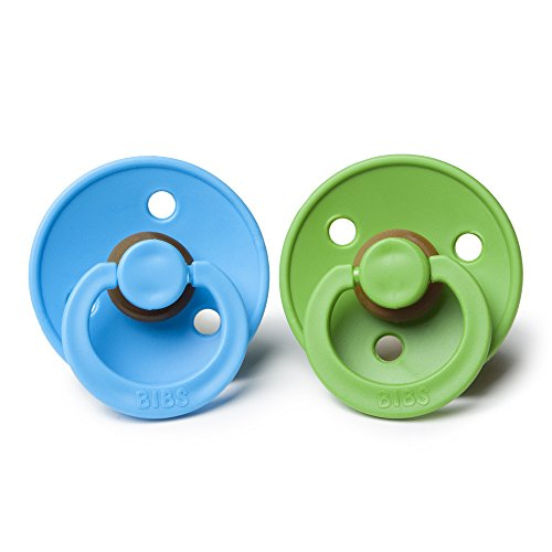 BIBS BPA-Free Natural Rubber Baby Pacifier   Made in Denmark (Clear Water/Pear, 6-18 Months) 2-Pack