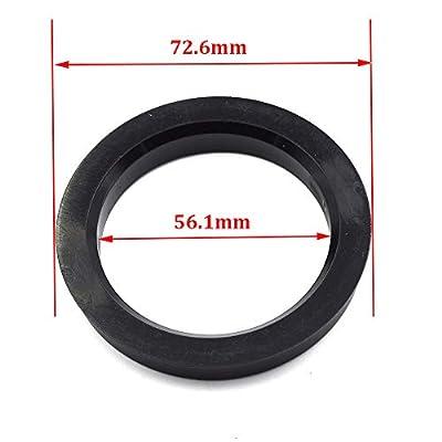 LU HWN 4X4 72.6 to 56.1 Black Plastic Hub Centric Rings - Pack of 4: Automotive