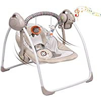VASTFAFA Electric Baby Swing Baby Rocker with Mosquito Nets 16 Melodies and 6 Swing Speeds (Khaki)