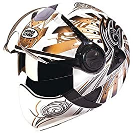 Studds Full Face Helmet Downtown D1 (White N12, L) & Universal Helmet Security Guard/Lock for Fender Fitment