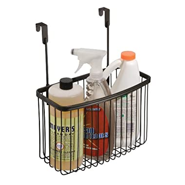 InterDesign York Lyra Over the Cabinet Kitchen Storage Organizer Basket for Aluminum Foil, Sandwich Bags, Cleaning Supplies - Large, Bronze