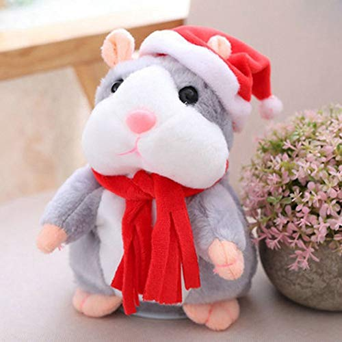Omaky Cheeky Hamster Talking Mouse pet Christmas Toy Speak Sound Record Hamster Gift Zooarts Gray