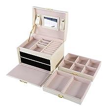 Boomerre White Leather Jewelry Box Organizer