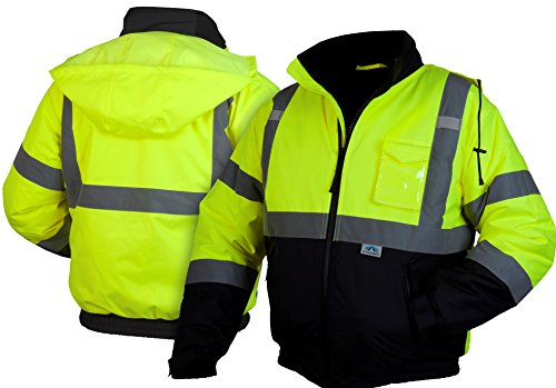 Pyramex RJ3210L Hi-Vis Lime Safety Bomber Jacket with Quilted Lining, Large, Green by Pyramex (Image #2)