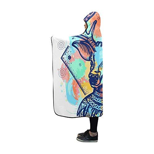 YUMOING Hooded Blanket Deer Color Tattoo Tshirt Design Symbol Blanket 60x50 Inch Comfotable Hooded Throw Wrap ()