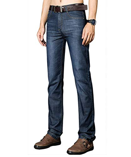Slim Dunkelblau Da Jeans Pantaloni A Regular Taper Vintage Dritta Casual Fit Uomo Gamba Moda nAwYZqw6p