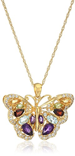 18k Yellow Gold Plated Sterling Silver Genuine Multi Gemstone and Created White Sapphire Butterfly Pendant Necklace, 19