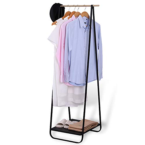 JEFEE Compact Clothes Rack Simple Garment Rack with Shelf 1-Tier Coat Clothing Organizer Storage for Hats Bags Shoe for Entryway Bedroom Dorm Pool, L21.3xW18.3X H55.1 inch, Black